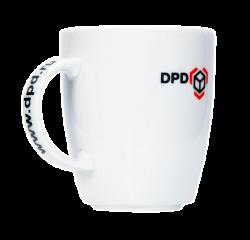 """Кружка керамическая, белая с 2-х цветной деколью. Логотип  """"DPD"""""""