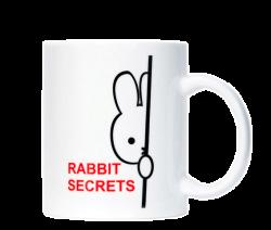 """Кружка керамическая, белая с 2-х цветной деколью. Логотип """"rebbit secrets"""""""