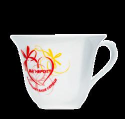 """Чашка керамическая, белая с 3-х цветной деколью. Логотип """"Магнерот"""""""