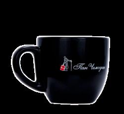 """Чашка керамическая, черная с 2-х цветной деколью. Логотип """"Пан чемодан"""""""