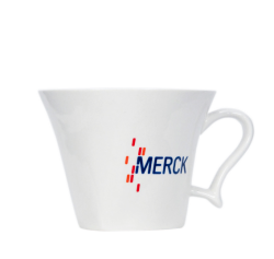 """Чашка белая, керамическая с 3-х цветной деколью. Логотип """"Merck"""""""