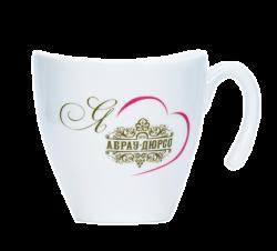 """Чашка керамическая, белая с 2-х цветой деколью. Логотип """"Абрау-Дюрсо"""""""