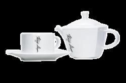 Чайник и чашка керамические, белый с одноцветной деколью