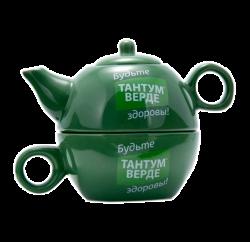 """Чайник фарфоровый, зеленый с чашкой, 2-х цветная деколь. Логотип """"Тантум верде"""""""
