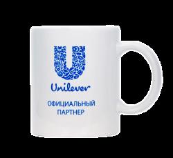 """Кружка керамическая, белая с одноцветной деколью. Логотип """"Unilever"""""""