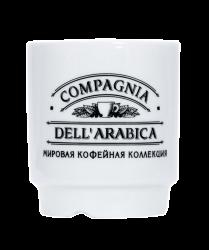 """Чашка керамическая, белая с одноцветной деколью. Логотип """"Dell Arabica"""""""