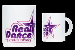 """Кружка керамическая, белая с 3-х цветной деколью. Логотипом """"Студия танца"""""""
