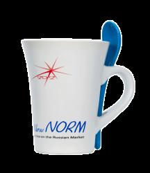 """Кружка керамическая,белая с 3-х цветной деколью. Логотип """"New Norm"""""""
