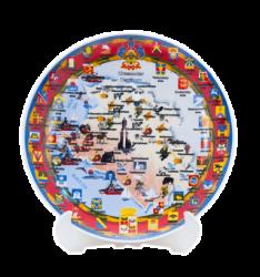 "Тарелка фарфоровая, белая с деколью CMYK. Логотип ""Краснодар"""