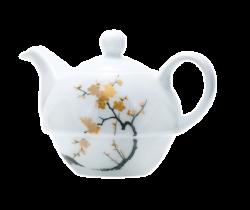 Чайник керамический, белый с 3-х цветной деколью
