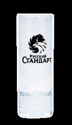 """Стопка стеклянная с 2-х цветной деколью. Логотип """"Русский стандарт"""""""