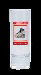 """Стопка стеклянная с 3-х цветной деколью. Логотип """"Stolichnaya"""""""
