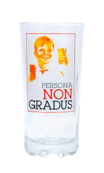 """Стакан стеклянный с 5-ти цветной деколью. Логотип """"Persona non gradus"""""""