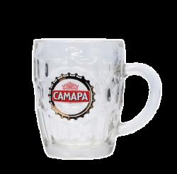 """Кружка пивная, стеклянная с 3-х цветной деколью. Логотип """"Самара"""""""