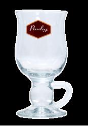 """Стакан стеклянный с 3-х цветной деколью. Логотип """"Paulig"""""""