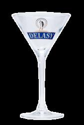 """Стакан стеклянный с 2-х цветной деколью. Логотип """"Delasy"""""""