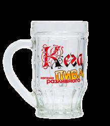 """Кружка пивная, стеклянная с 4-х цветной деколью. Логотип """"Кега"""""""