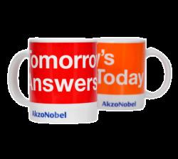 """Кружки керамическая, белая с 2-х цветной деколью. Логотип """"AkzoNobel"""""""