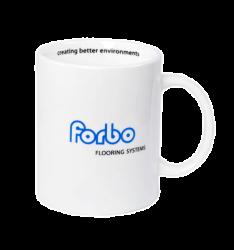 """Кружка керамическая, белая с 2-х цветной деколью. Логотип """"Forbo"""""""
