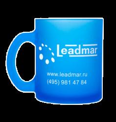 """Кружка стеклянная, матовая, синяя с одноцветной деколью. Логотип """"leadmar"""""""