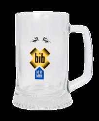 """Пивная кружка стеклянная, с 4-х цветной деколью. Логотип """"Be-in"""""""
