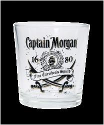 """Бокал стеклянный, с 2-х цветной деколью. Логотип """"Capitain Morgan"""""""