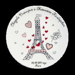 """Тарелка  декоративная, фарфоровая с 3-х цветной деколью. Логотип """"Свадьба"""""""