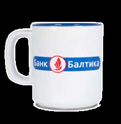 """Кружка бело-синяя, с 2-х цветной деколью. Логотип """"Банк Балтика"""""""