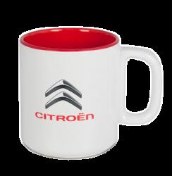 """Кружка бело-красная, с 2-х цветной деколью. Логотип """"Citroen"""""""