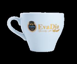 """Кружка керамическая,белая с 2-х цветной деколью. Логотип """"Eva Dia"""""""