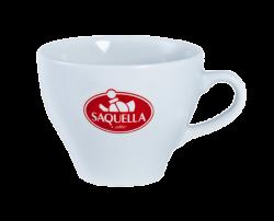 """Чашка белая, керамическая с одноцветной деколью. Логотип """"Saquella"""""""