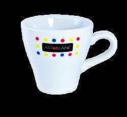 """Чашка белая, керамическая с 4-х цветной деколью. Логотип """"Artblanc"""""""