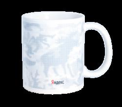 """Кружка керамическая,белая с 3-х цветной деколью. Логотип """"Яндекс"""""""