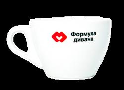 """Чашка белая, керамическая с 2-х цветной деколью. Логотип """"Формула дивана"""""""