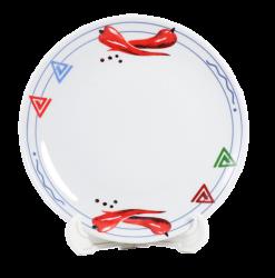 Тарелка белая, керамическая 4-х цветной деколью.